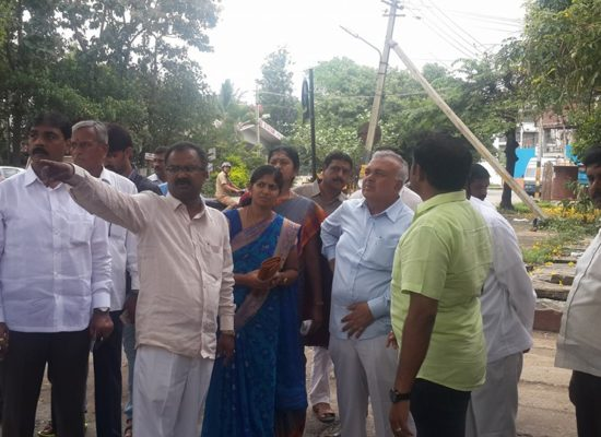 Sanitary line inspection from minister and mayor near fire station dhobighat gan